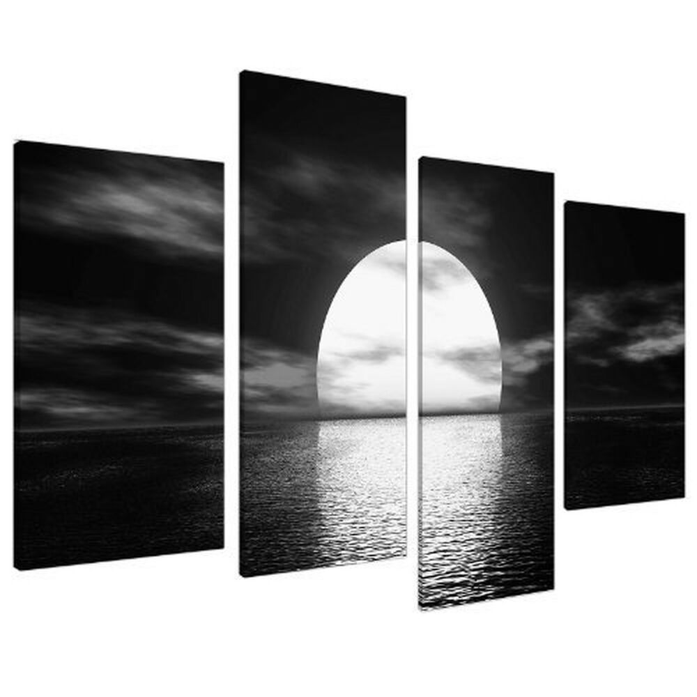 Details about large black white canvas wall art pictures 130cm wide prints xl 4003