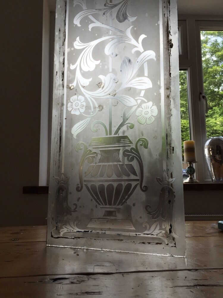 Victorian Acid Etched Glass Front Door Side Panel Old