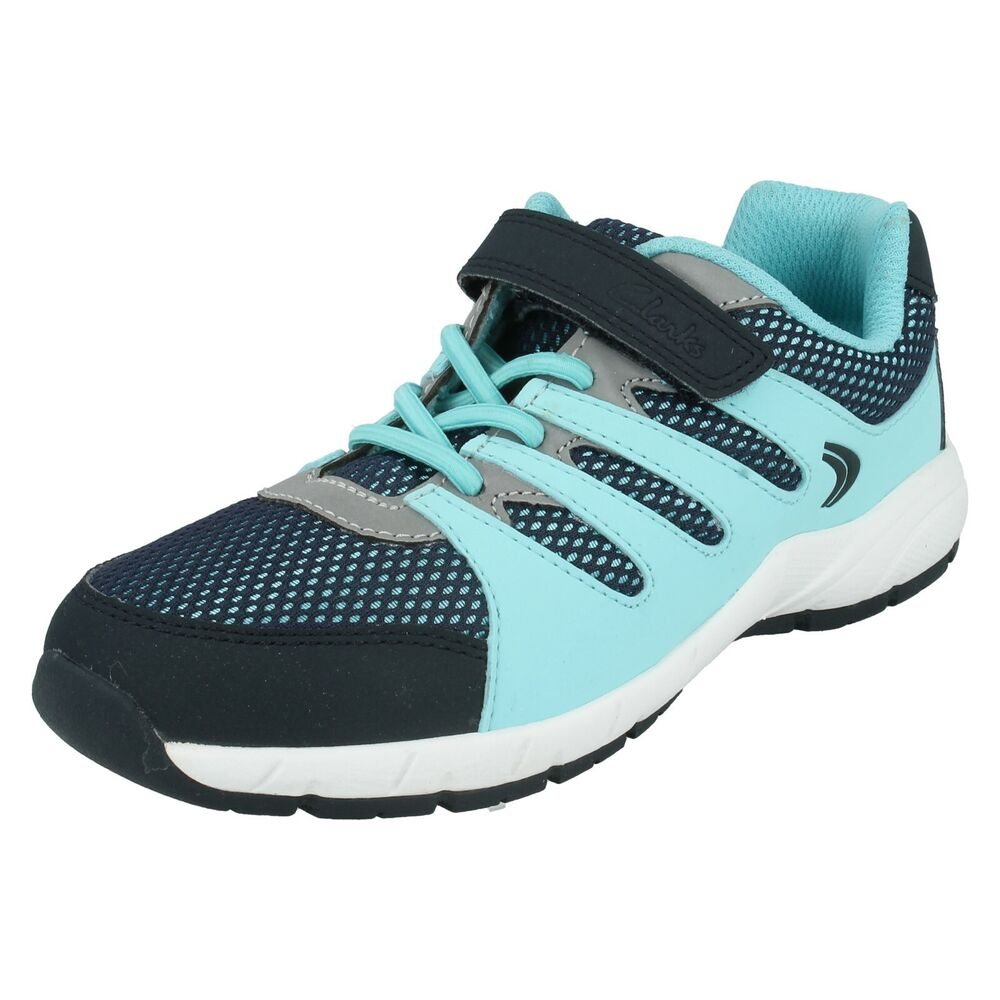 c9a415fbeef GIRLS CLARKS CROSS DART ELASTIC LACES RIPTAPE STRAP CASUAL SPORTS TRAINERS  SHOES | eBay