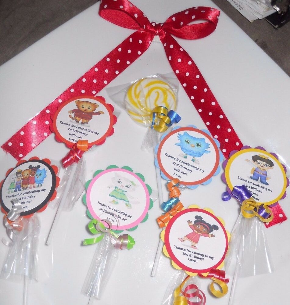Details About 24 Daniel Tiger Party Favors Personalized 2 Candy Swirl Lollipop Birthday