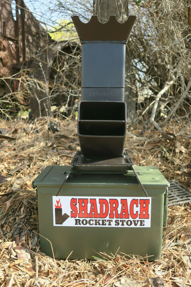 Shadrach v2 portable rocket stove with new 50 cal ammo for Portable rocket stove plans