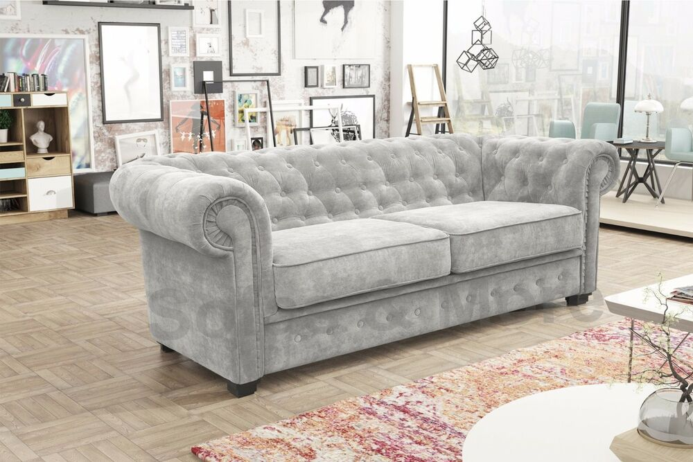 Venus Chesterfield Style 3 Seater Sofa Bed Armchair Fabric ...
