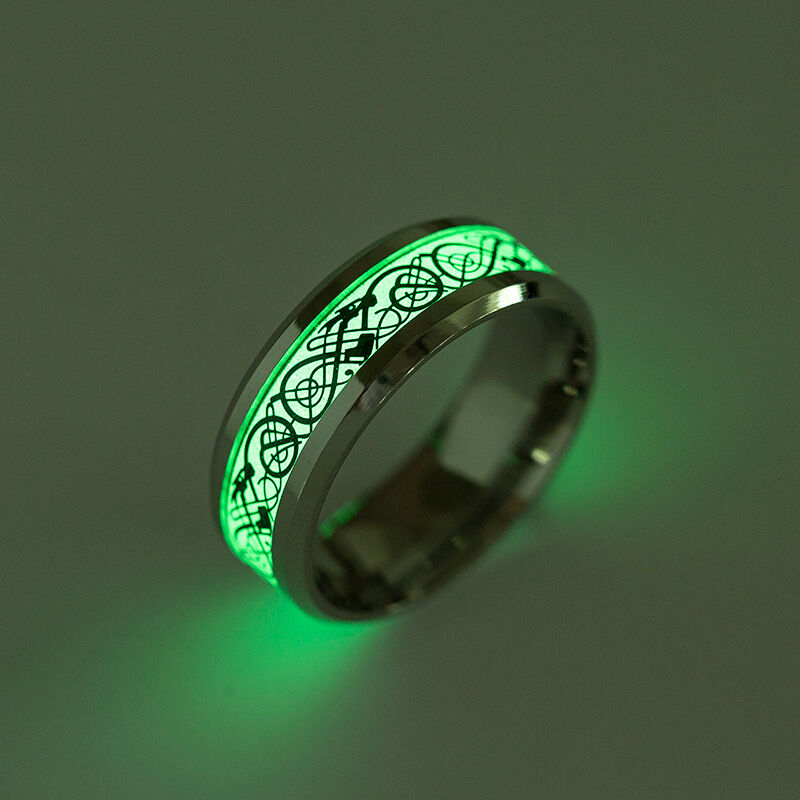 Dragon fantasy glow in the dark ring luminous for Glow in the dark wedding rings