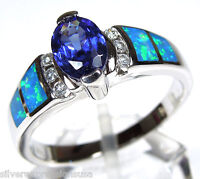 Tanzanite & Blue Fire Opal Inlay Genuine 925 Sterling Silver Ring Sz 6,7,8,9