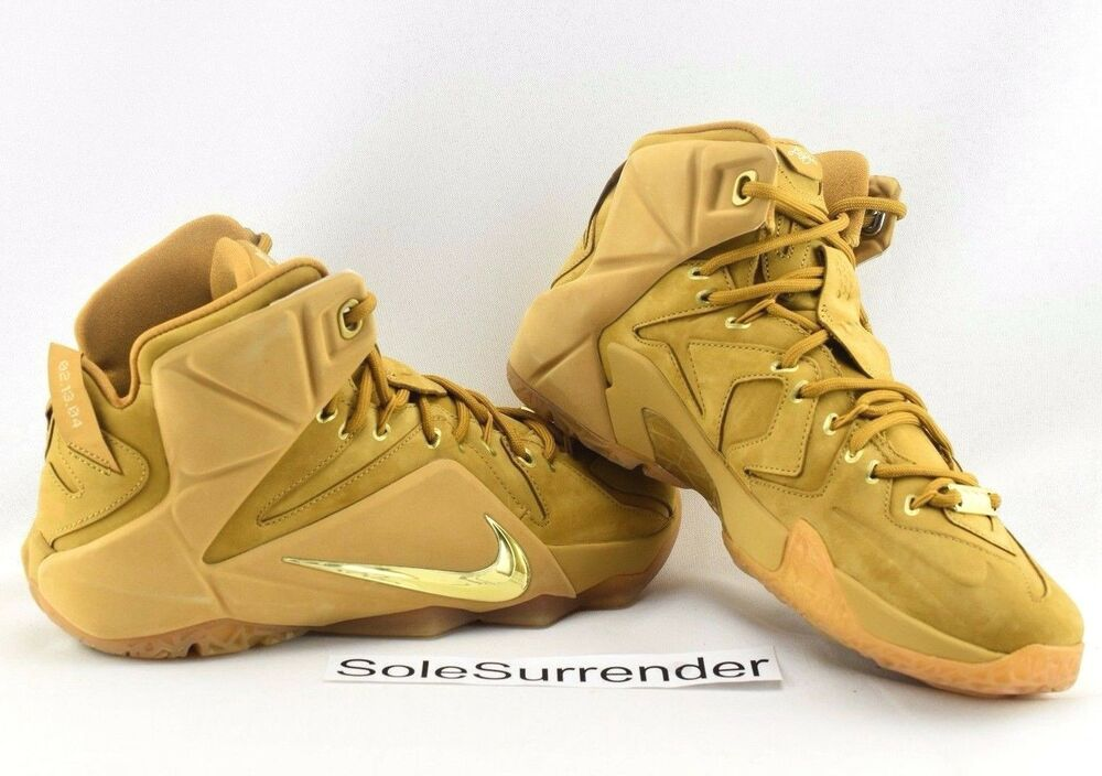 huge selection of 17d91 be6a3 Details about Nike Lebron XII EXT QS - CHOOSE SIZE - 744287-700 Wheat Gold  Brown 12 Tan Cork