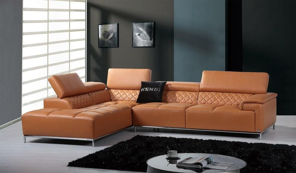 Modern Orange Italian Leather Sectional Sofa Left Facing Chaise ...