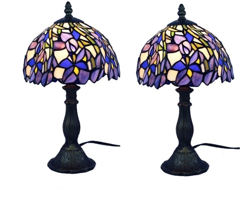 Details About Tiffany Style Stained Gl Lamp Set Of Two 2 Lamps Table Blue Purple Desk Light