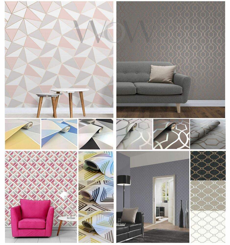 GEOMETRIC WALLPAPER VARIOUS COLOURS AND DESIGNS GREY ROSE ...