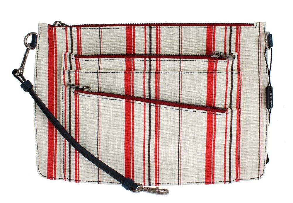 Details about NWT  1000 DOLCE   GABBANA Mens Bag White Red Striped Linen  Leather Clutch Mens 39e78e32e391d