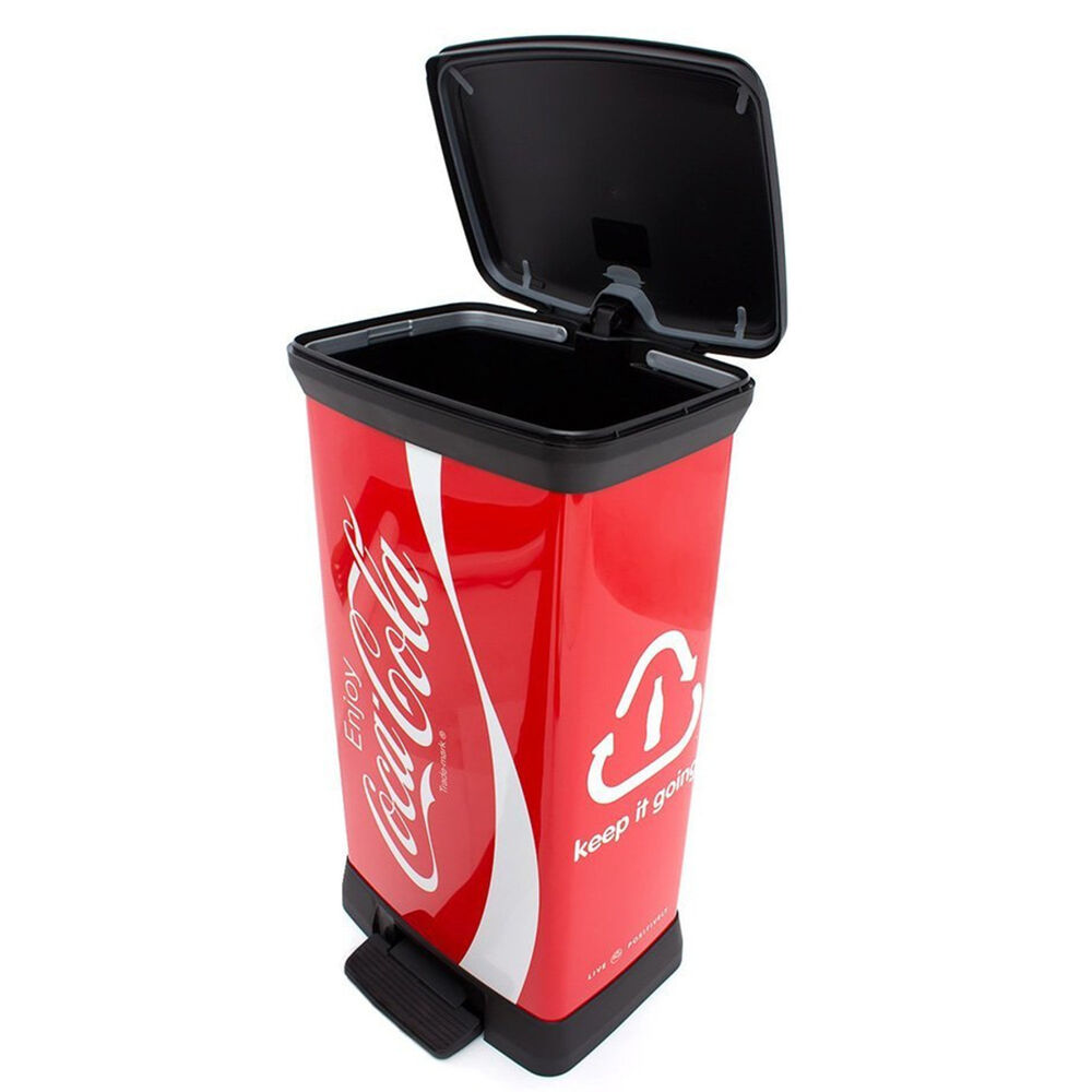 m lleimer coca cola design abfalleimer 50 liter curver tretpedal gl nyend eimer ebay. Black Bedroom Furniture Sets. Home Design Ideas