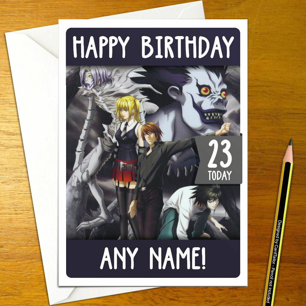 Details About DEATH NOTE Personalised Birthday Card