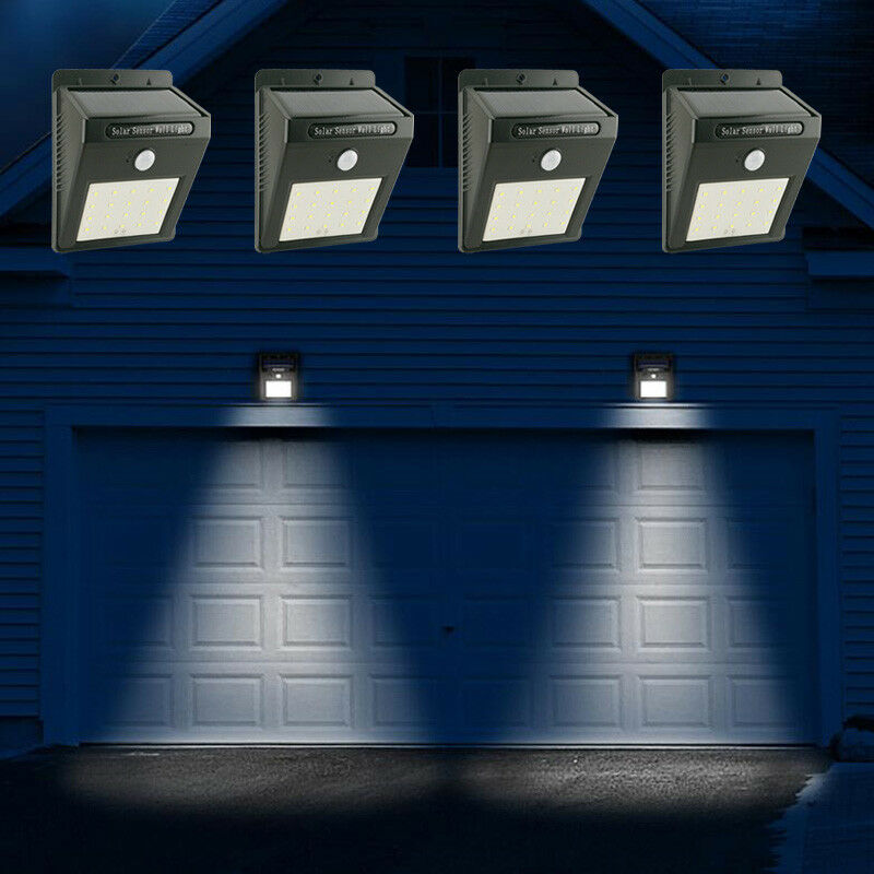 4x solarlampe 20 led solar licht bewegungsmelder au en gartenlicht wandleuchte ebay. Black Bedroom Furniture Sets. Home Design Ideas