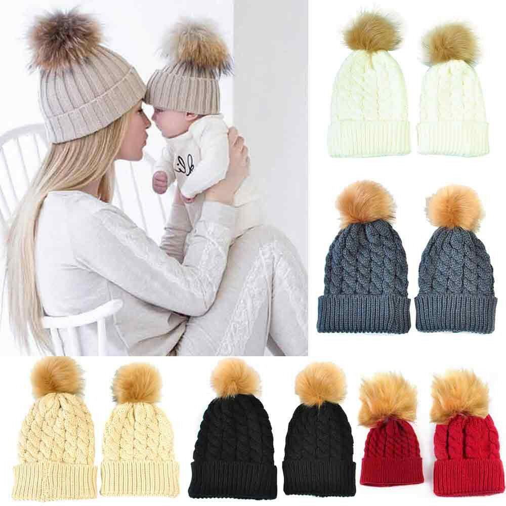 Details about 2PCS Mom Mother Baby Knit Pom Bobble Hat Kids Girls Boys  Winter Warm Beanie Cap 99a005dffe1