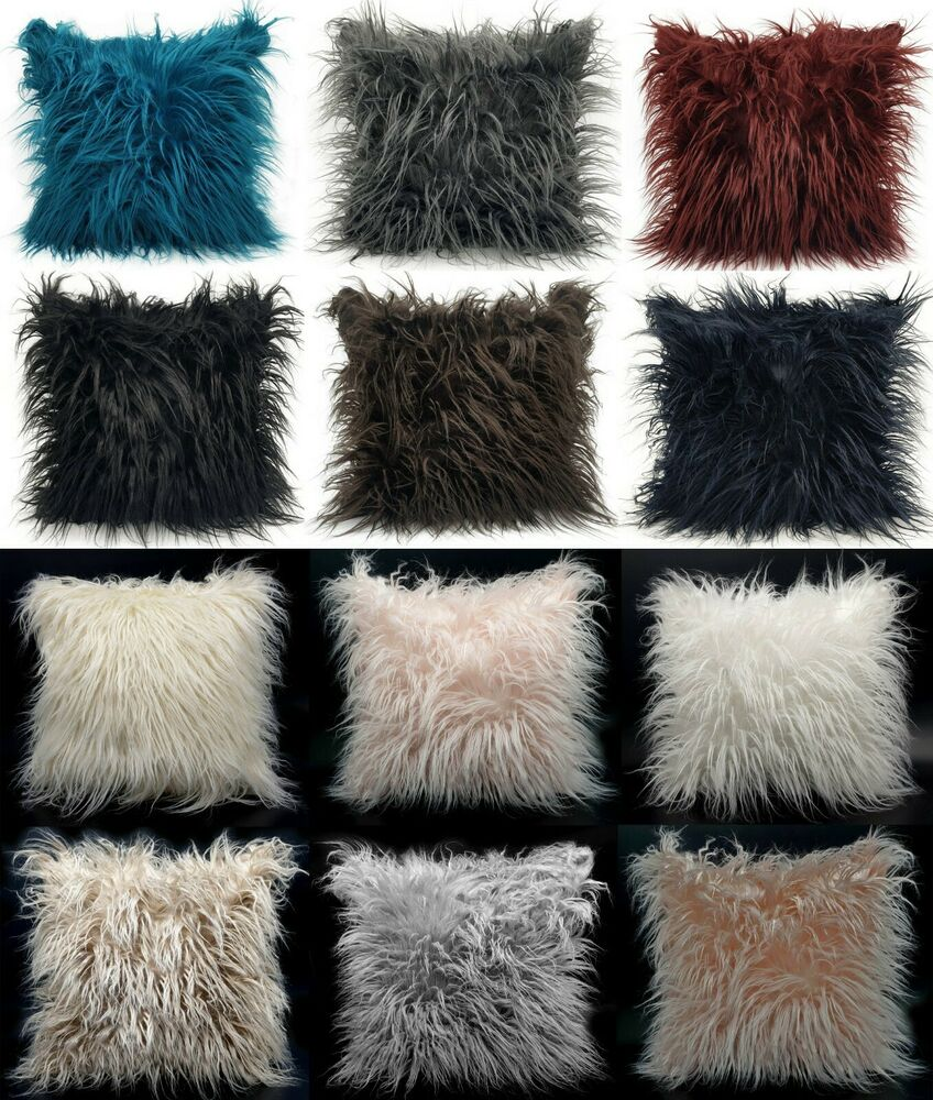 large cushion cover or cushions long shaggy faux fur. Black Bedroom Furniture Sets. Home Design Ideas