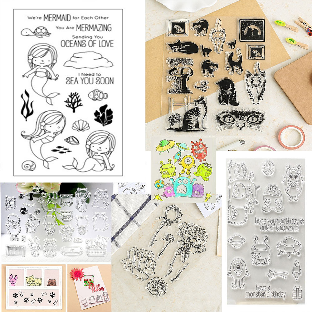 klar silikon stempel clear stamps scrapbooking diy basteln briefmarken fotoalbum ebay. Black Bedroom Furniture Sets. Home Design Ideas