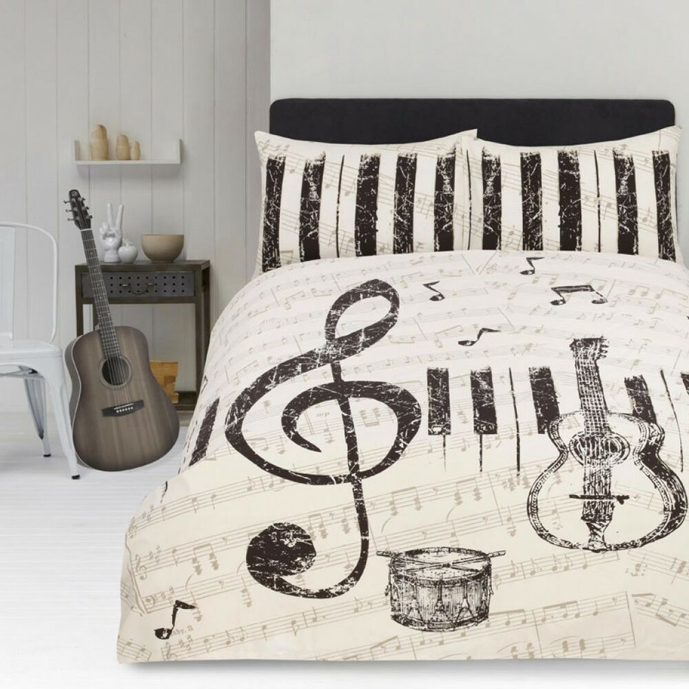 Marvelous Retro Maestro Music Guitar Piano Drum Quilt Cover Set   SINGLE DOUBLE QUEEN  KING | EBay