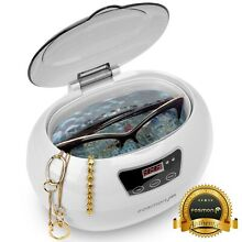 Stainless Steel Ultrasonic Cleaner Jewelry Glasses Lens Watches Rings 600ml Tank