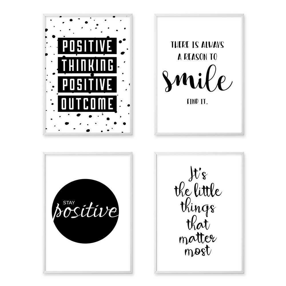 inspirational quote wall art canvas posters black white. Black Bedroom Furniture Sets. Home Design Ideas