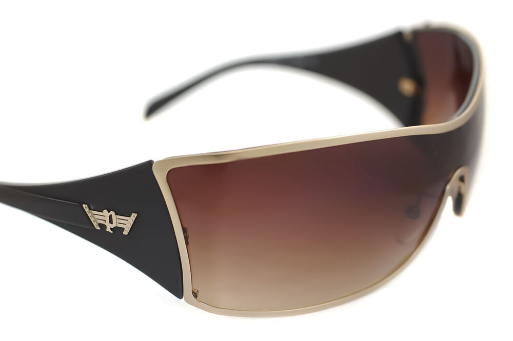 bd03aef5ff2 POLICE S8826 0648 Mens LARGE Wraparound Sunglasses GOLD GRADIENT BROWN