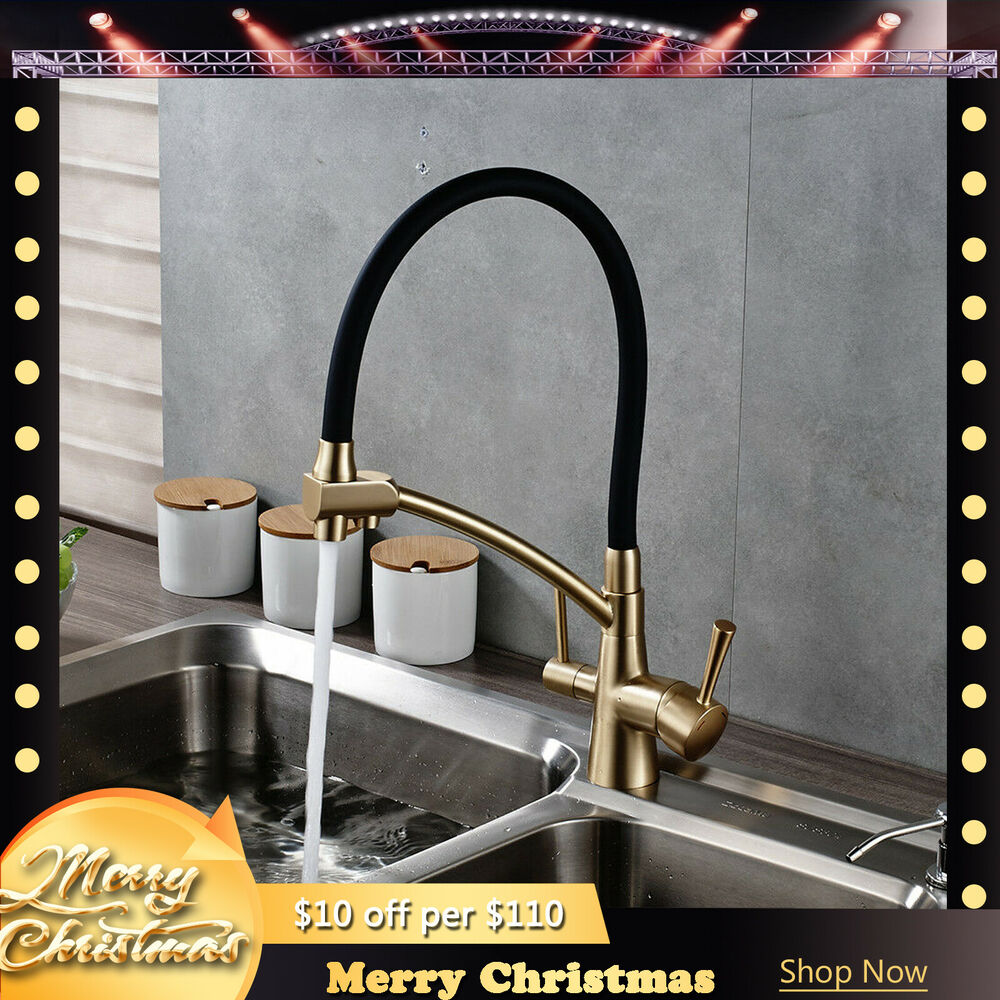 Black And Gold Kitchen: Gold + Black Brass Kitchen Pure Faucet Dual Handles Deck