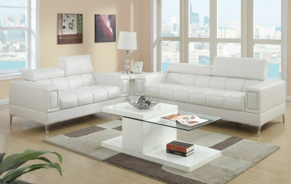 2 Pc Modern White Bonded Leather Sofa Couch Loveseat Set Living Room  Furniture | EBay Part 55