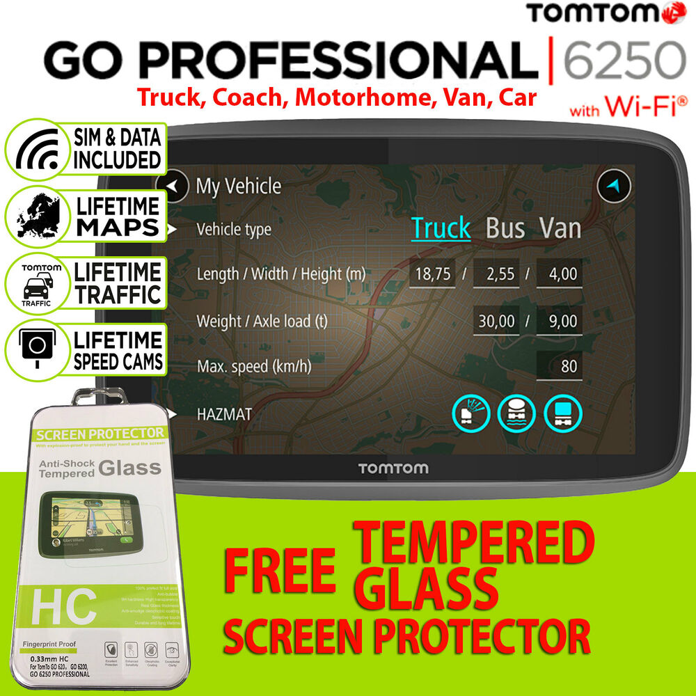 tomtom go professional 6250 lifetime maps traffic sat nav trucker truck lorry 636926089890 ebay. Black Bedroom Furniture Sets. Home Design Ideas