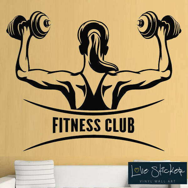 wall stickers fitness gym exercise weights inspiration club art