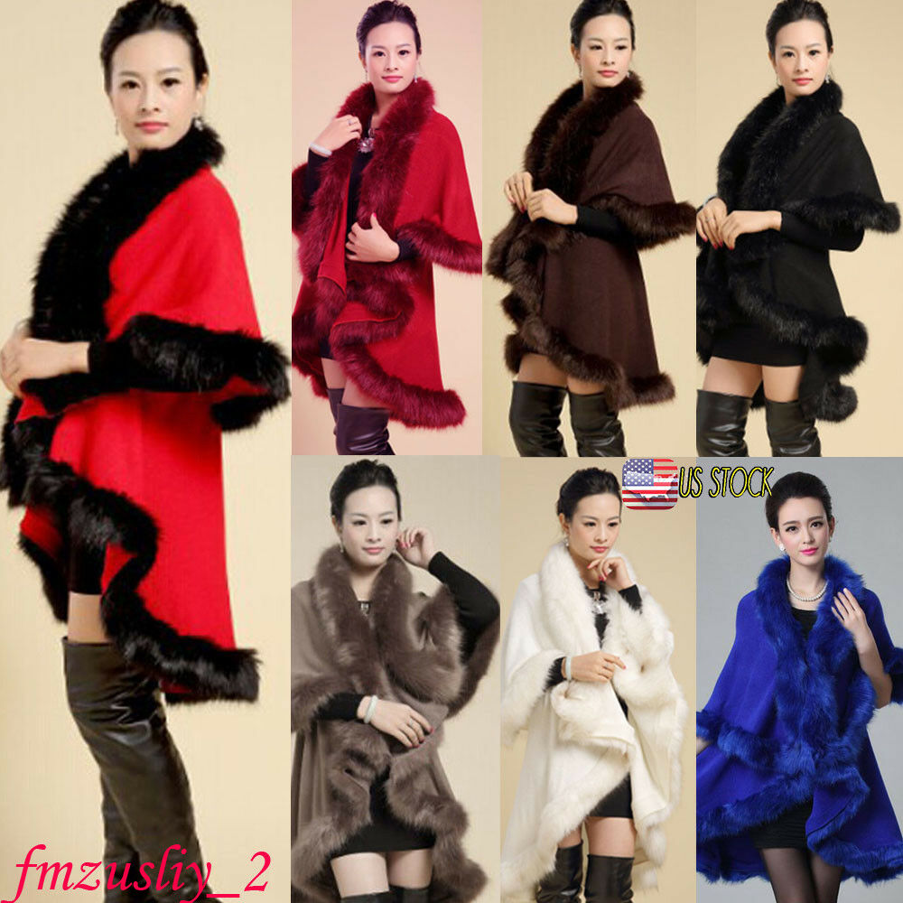 321875d83bfb Details about Women Autumn Spring Faux Fur Collar Poncho Cape Thin Stole  Wrap Hoody Coat Lot