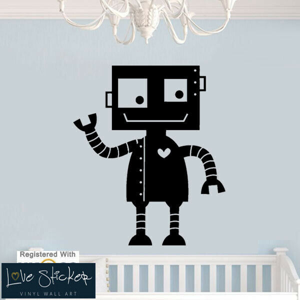 wall stickers robot cute boys bedroom nursery game cool art decal