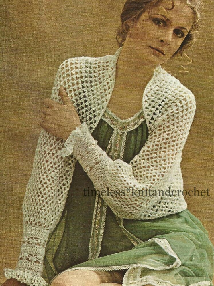 Vintage 1960s Crochet Pattern For A Pretty Bed Jacket Evening Wrap