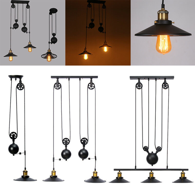 Vintage Industrial Hanging Pulley Pendant Lights Retro