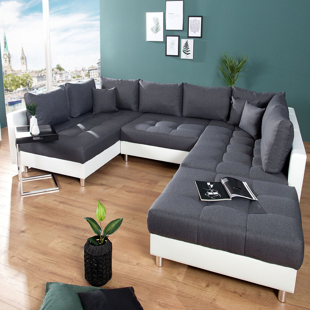 xxl wohnlandschaft kent 305 cm inkl hocker couch sofa u sofa federkern ebay. Black Bedroom Furniture Sets. Home Design Ideas