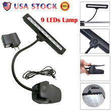 Lamp Light Black Flexible 9 LEDs Clip-On Orchestra Music Stand With Adapter