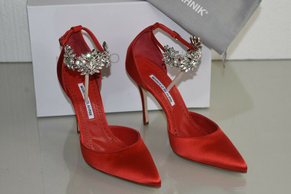 12bb7a1aea9309  1045 NEW Manolo Blahnik Sicariata 105 Satin Pumps Jeweled Shoes Red 38.5  39