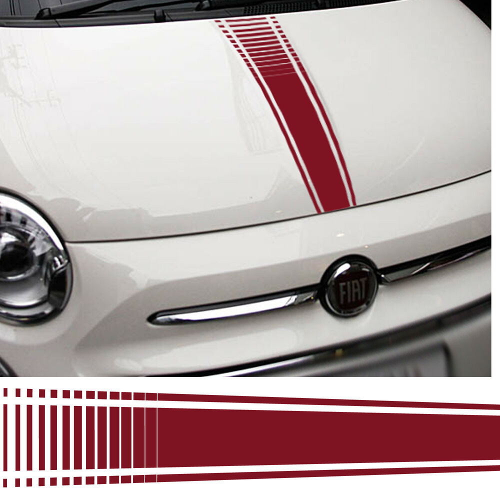 Details about fiat 500 abarth car bonnet stickers italian flag decal graphic stripe grande