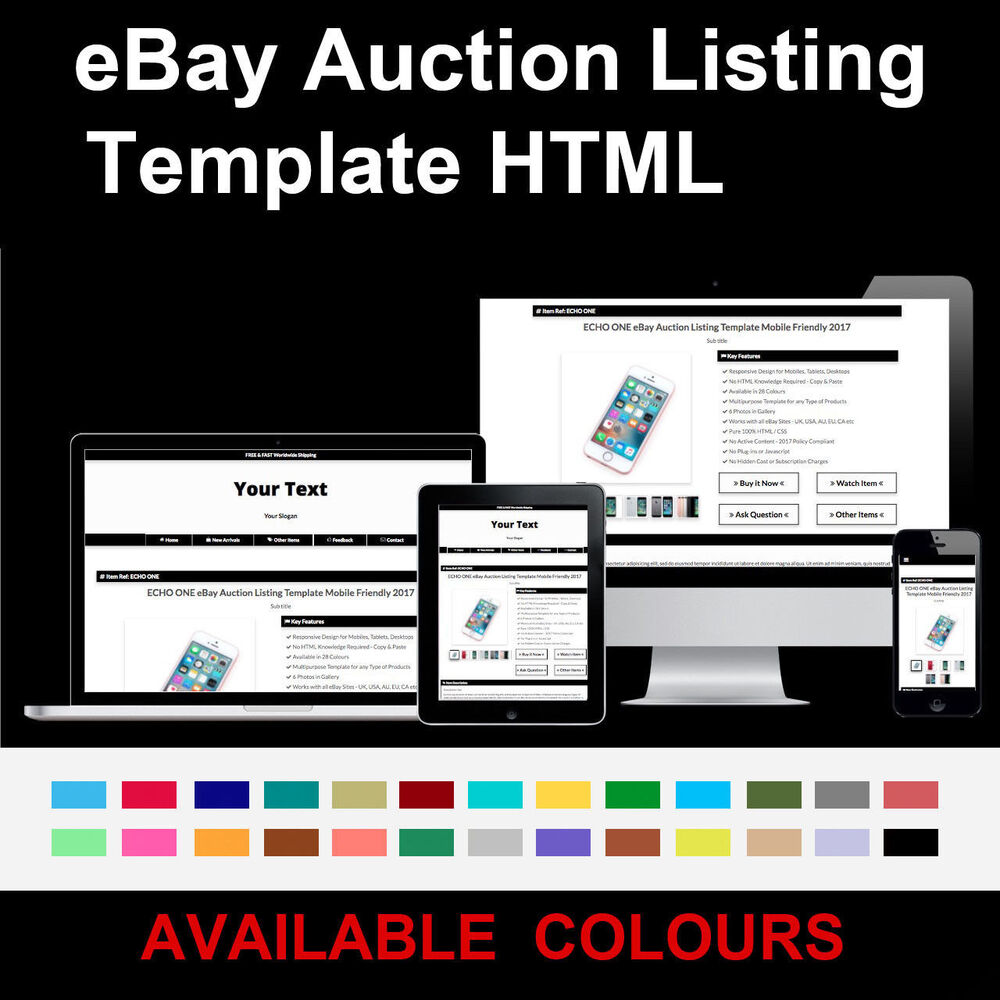 Black EBay Auction Listing Template Responsive Image Gallery - Mobile friendly ebay listing template