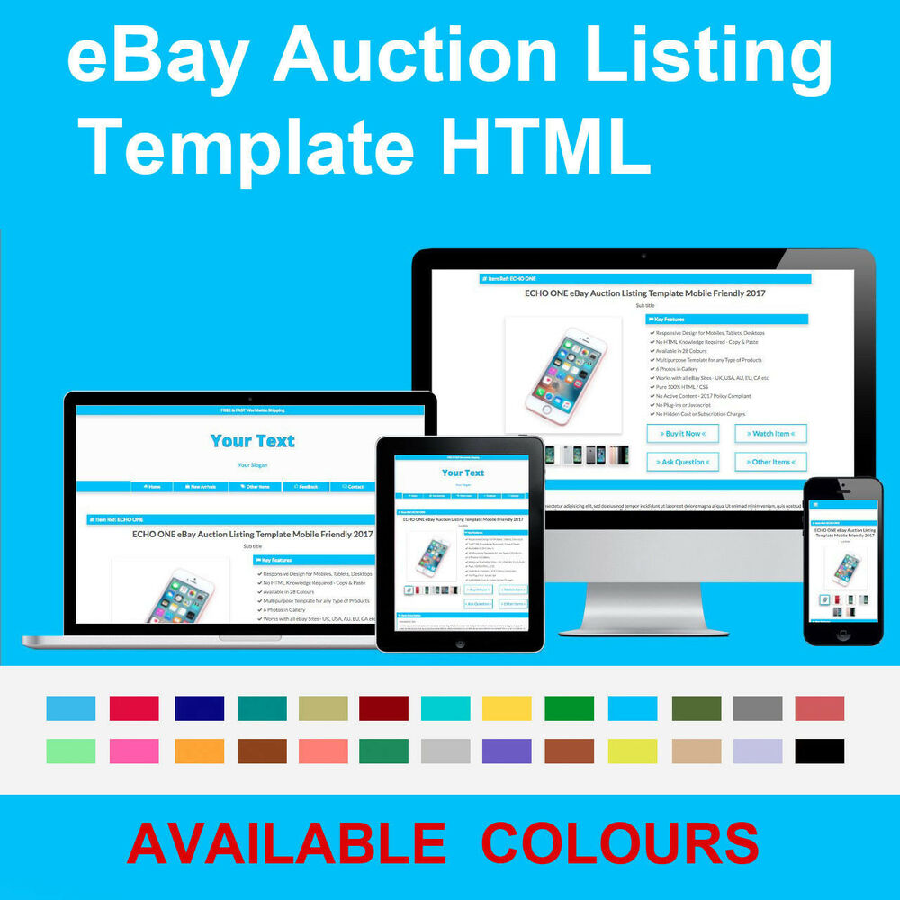 Blue Ebay Auction Listing Template Responsive Photo Gallery 2018