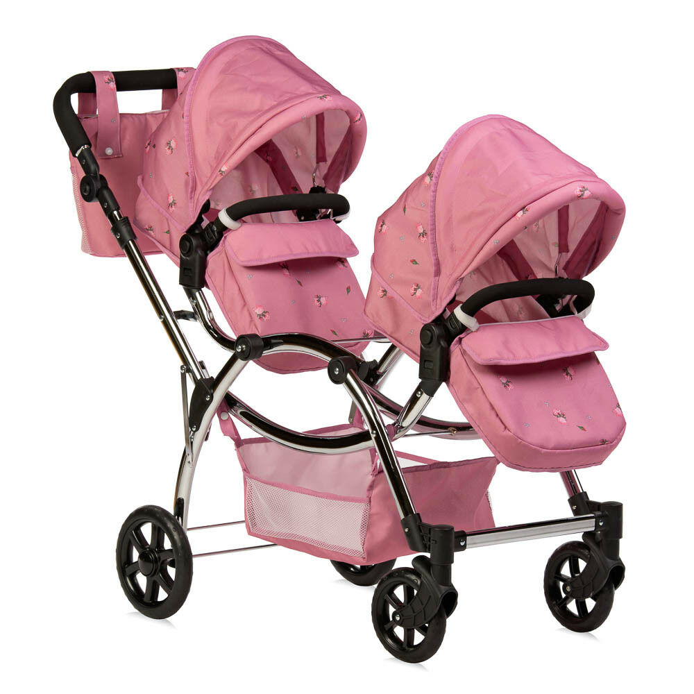Roma Darcie Twin Dolls Pram Childs Doll Double Pram Pink