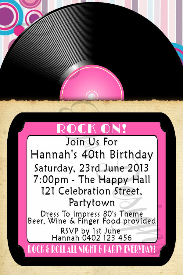 Details About ROCK N ROLL VINYL LOOK RECORD BIRTHDAY INVITATION 4X6