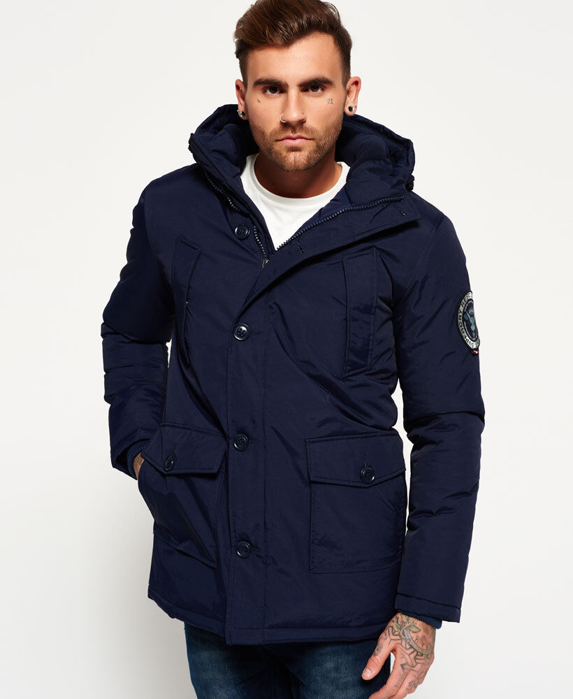 New Mens Superdry Everest Parka Jacket Navy Ebay