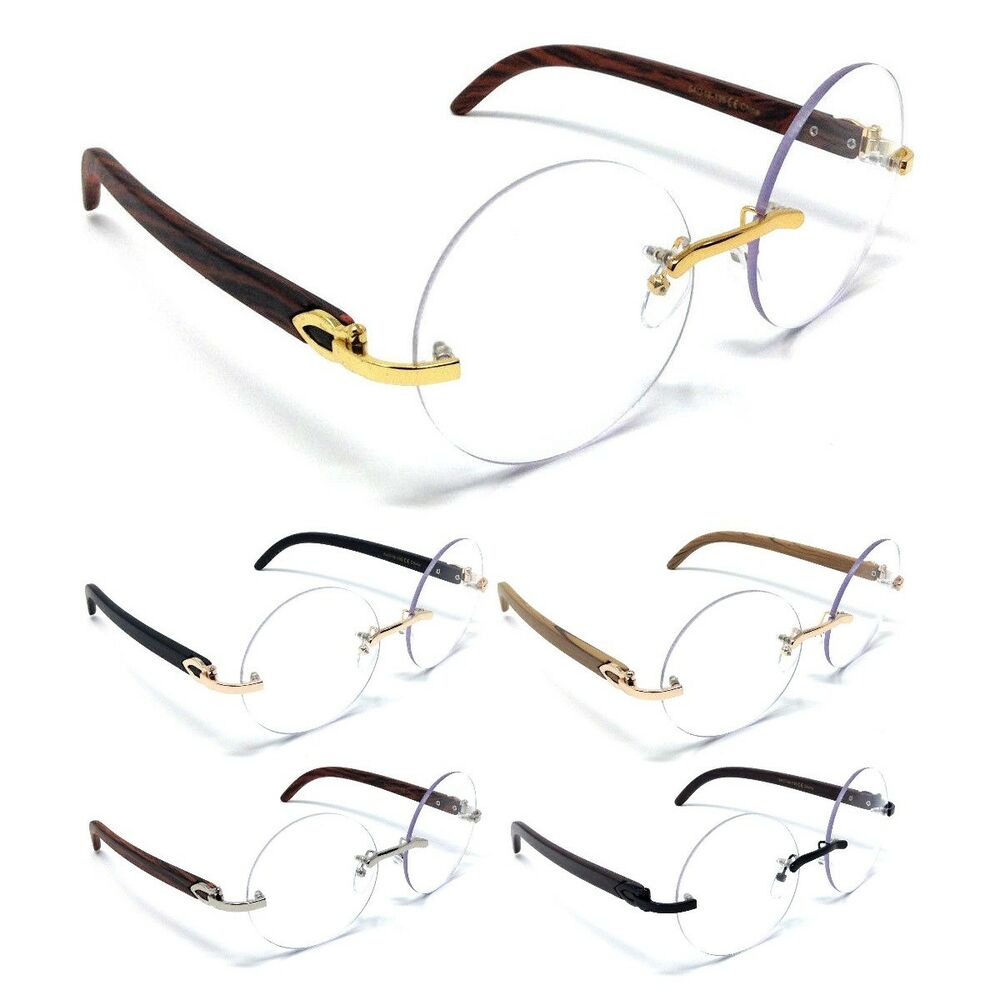 b6aa42f15d72 Details about LUXE DIPLOMAT RIMLESS ROUND SUN EYE GLASSES CLEAR LENSES  METAL WOOD FRAME EURO