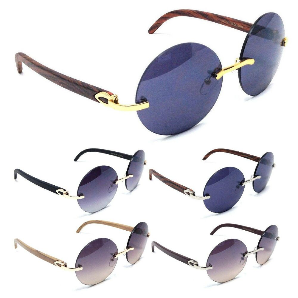 c04eec4190664 Details about LUXE DIPLOMAT RIMLESS ROUND SUNGLASSES METAL   FAUX WOOD  PRINT FRAME EURO VTG