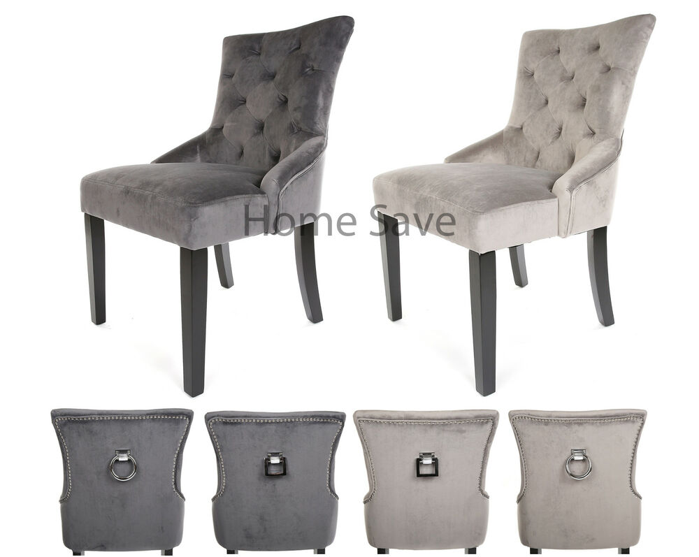 Grey Velvet High Back Dining Chairs: X 2 New Velvet Scoop Back Dining Chair Pair Light Or Deep