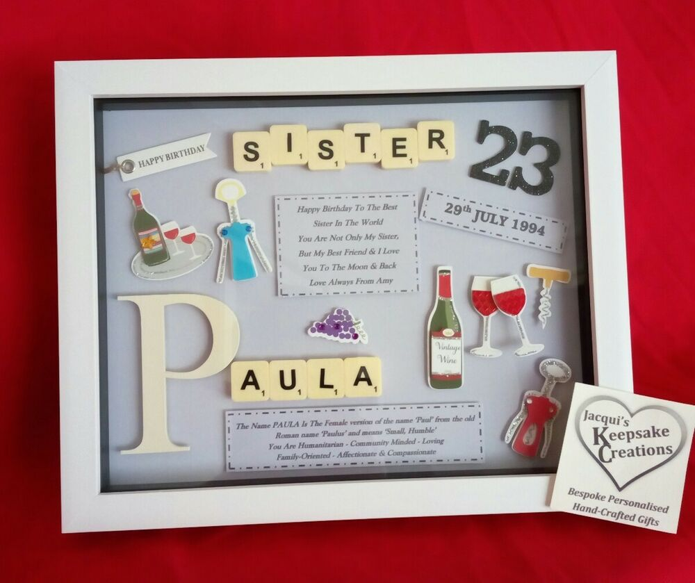 SISTER CHRISTMAS GIFT PERSONALISED PICTURE FRAME SCRABBLE LETTERS ...