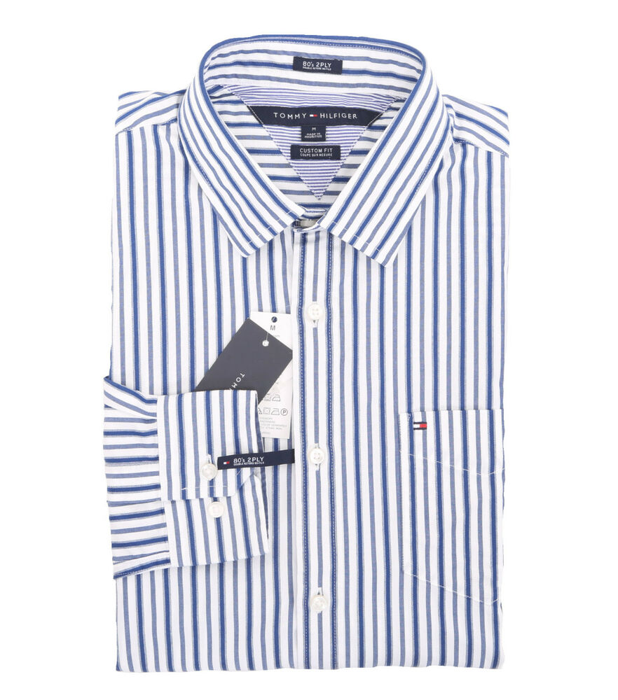 Tommy Hilfiger Mens Long Sleeve Button Down Stripe Casual Shirt