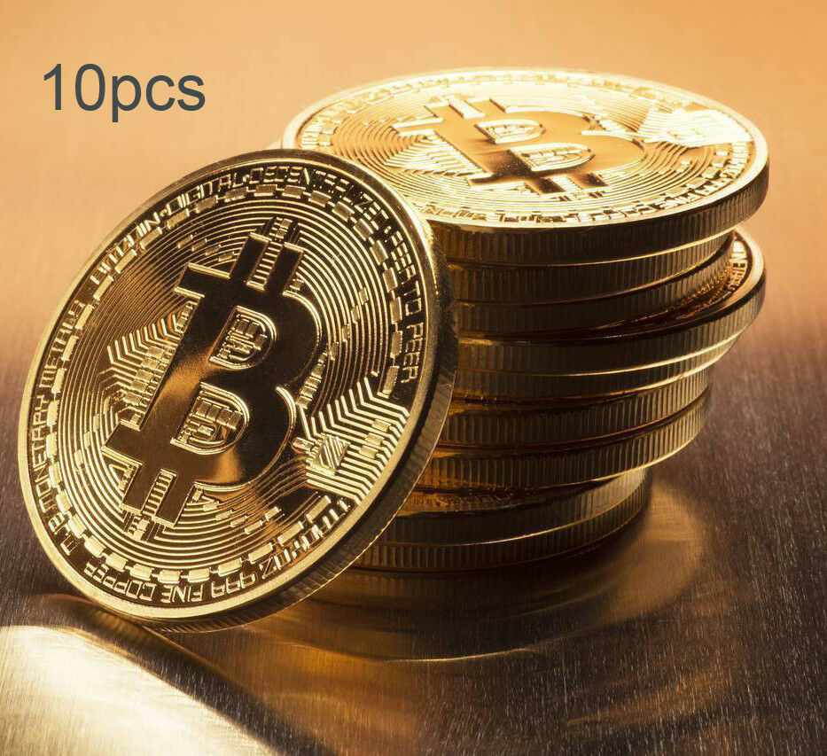 10x Gold Plated Bitcoin Coin Collectible Gift BTC Art Collection Physical N