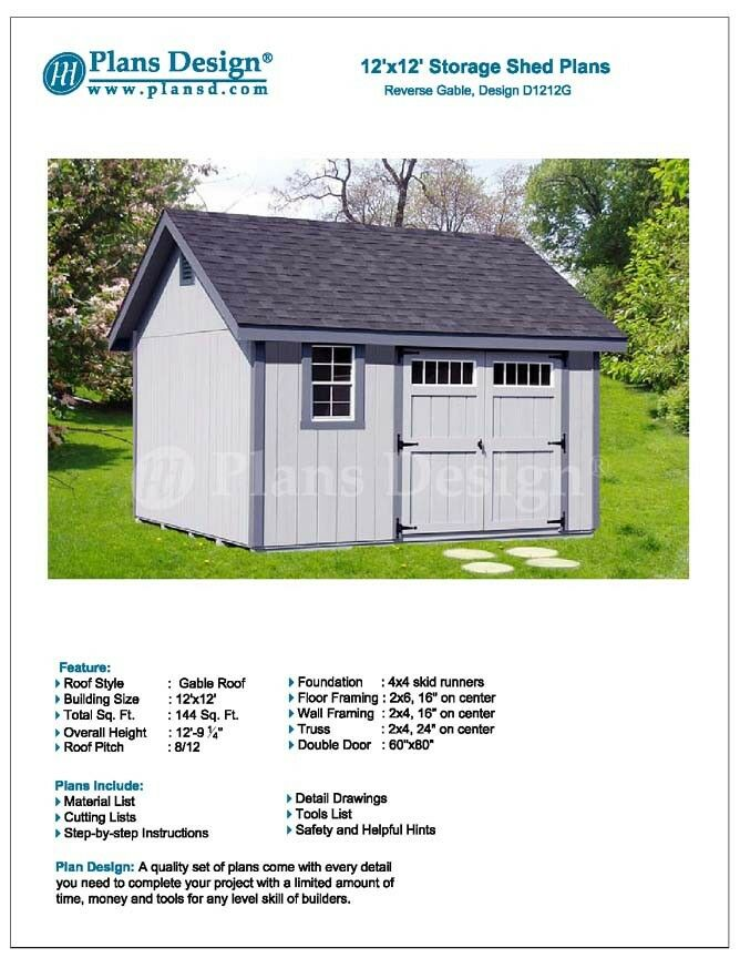 Do It Yourself Home Design: Shed Plans, Do It Yourself 12' X 12' Reverse Gable Roof