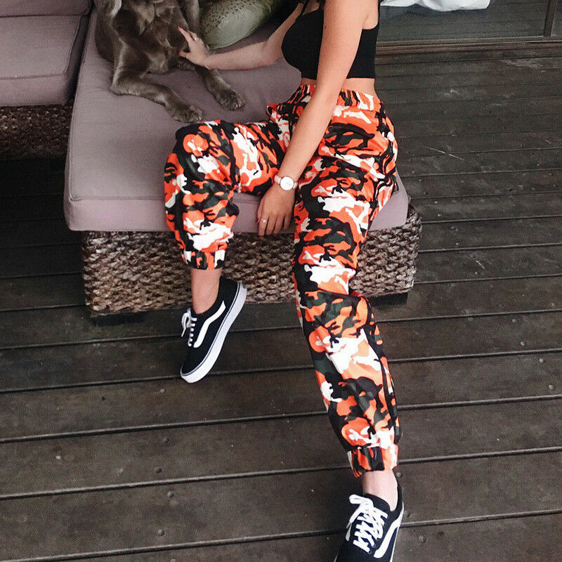 Womens Orange Camouflage Pants Camo Casual Cargo Joggers