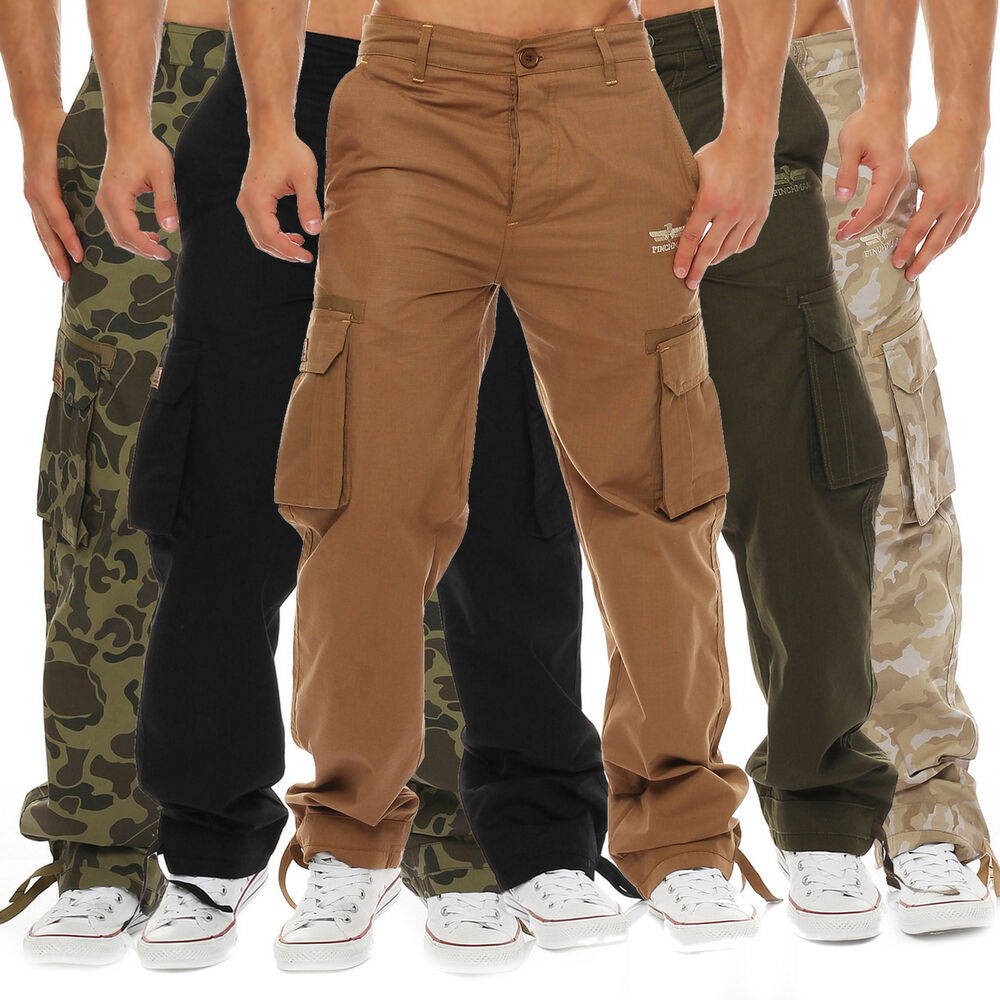 finchman herren cargo hose freizeithose regular fit mehrfarbig army milit r ebay. Black Bedroom Furniture Sets. Home Design Ideas