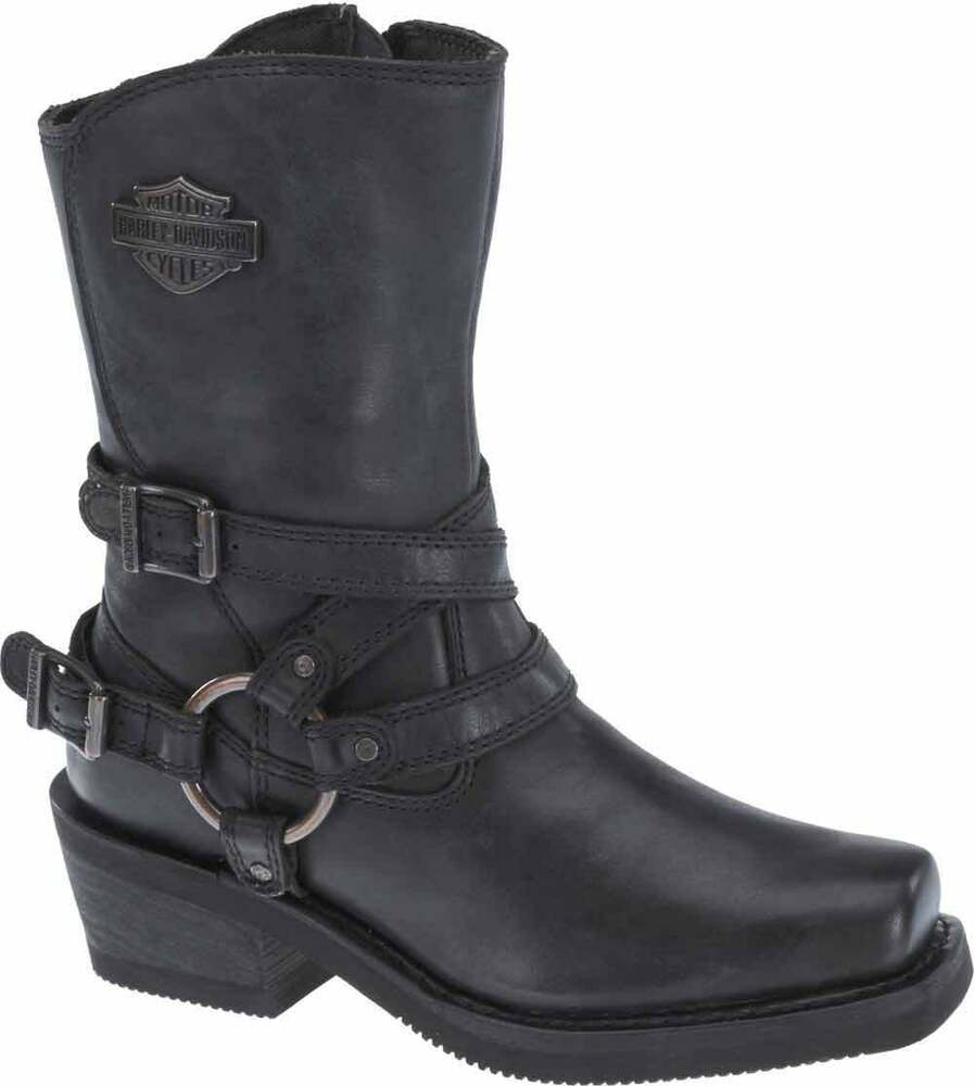 Harley-Davidson Womens Ingleside Black Leather Motorcycle Boots -3624